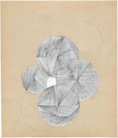 Utan titel (nr 9) 2013 White-out And Pencil On Found Paper 19.5 x 23 cm