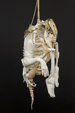 Fetish remains 2014 bone, plaster, rope and jesmonite 90 x 60 cm
