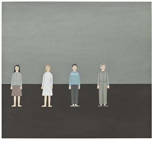Två flickor och två pojkar 2009 oil on panel 48 x 53 cm