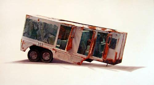 Trailer 1996 oil on canvas 101 x 183  cm