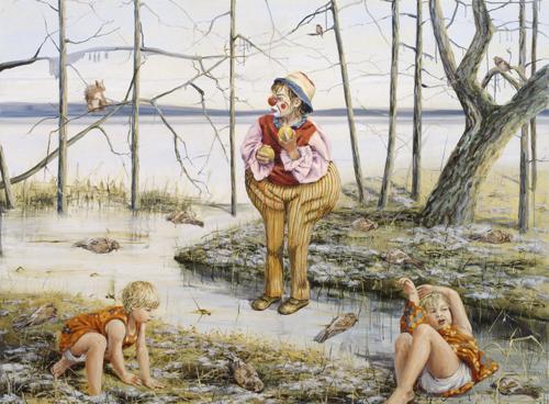 Clownen 2007 oil on canvas 190 x 260 cm