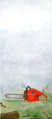 Motorsågen 2005 oil on panel 110 x 47 cm