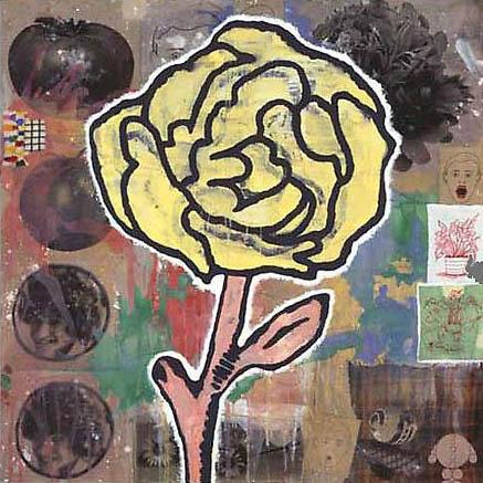Yellow Flower 2005  acrylic & fabric collage on jute  203 x 203 cm