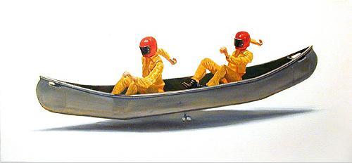 Canoe 2001 oil on canvas 30 x 66 cm