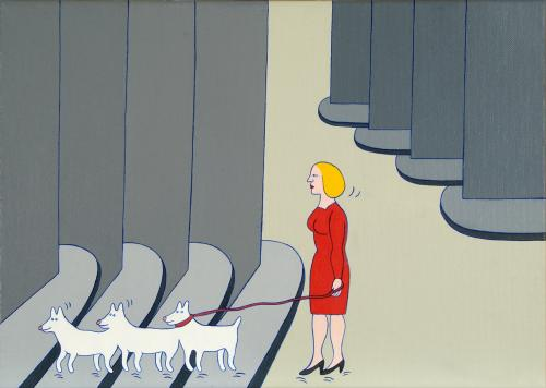 En dam i staden med tre hundar (A Lady in Town With Three Dogs)  2008 oil on canvas 50 x 70 cm