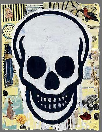 Skull (Yellow #1)  2005  gouache, vinyl paint and paper collage on paper  68.5 x 53.5 cm