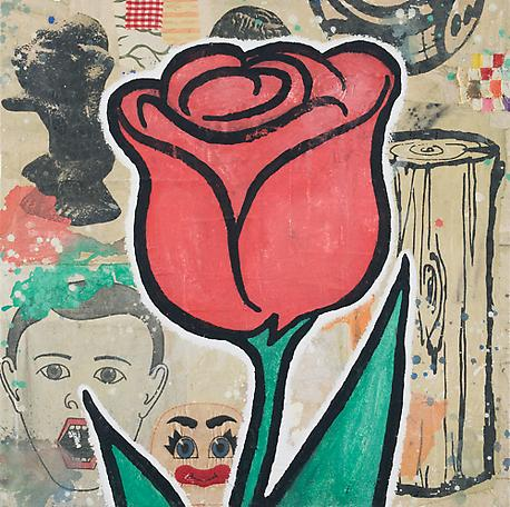 Red Flower 2008 acrylic and fabric collage on canvas 102 x 102 cm