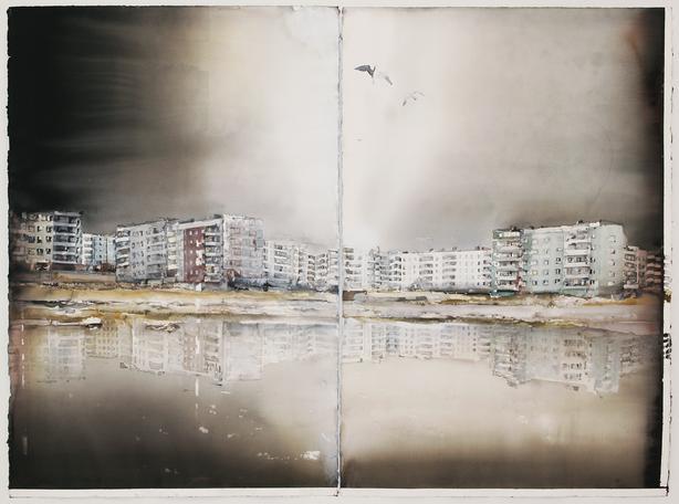 Ukraina  2011 watercolor on paper 150 x 204 cm