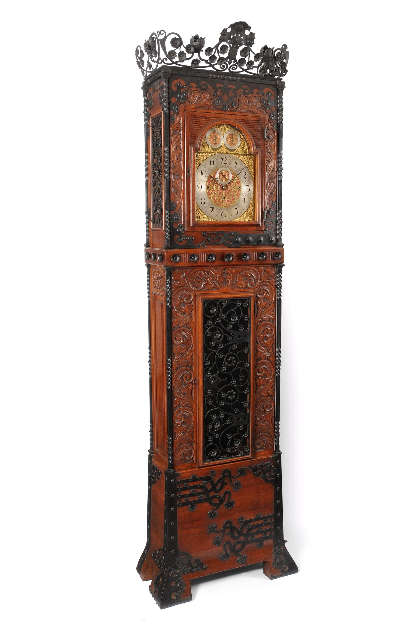Tall Aesthetic Movement Oak and Wrought Iron Case Clock 1