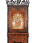 Tall Aesthetic Movement Oak and Wrought Iron Case Clock