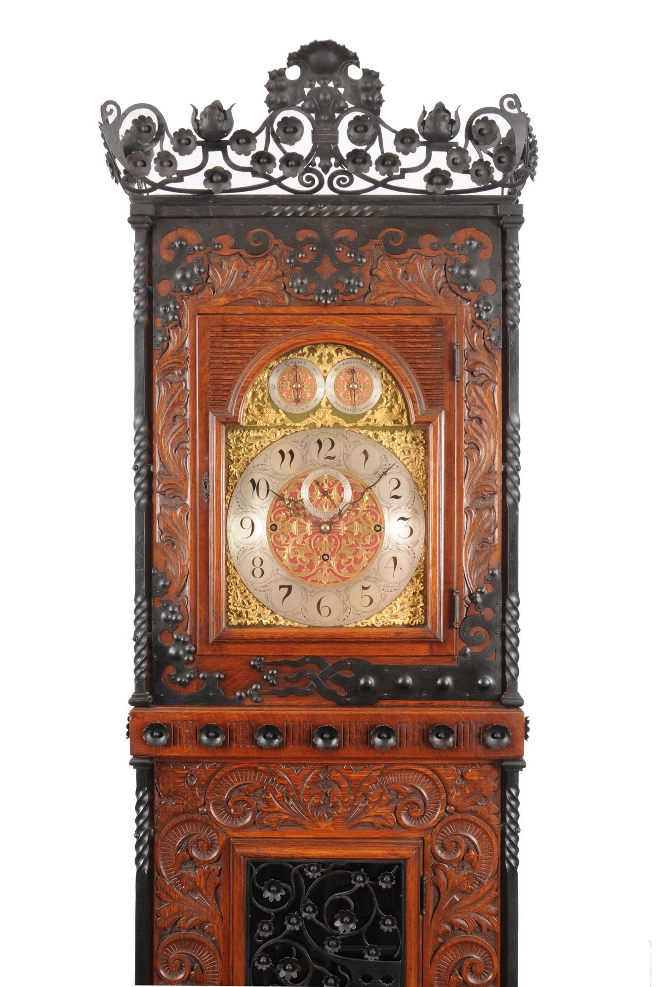 Tall Aesthetic Movement Oak and Wrought Iron Case Clock 2