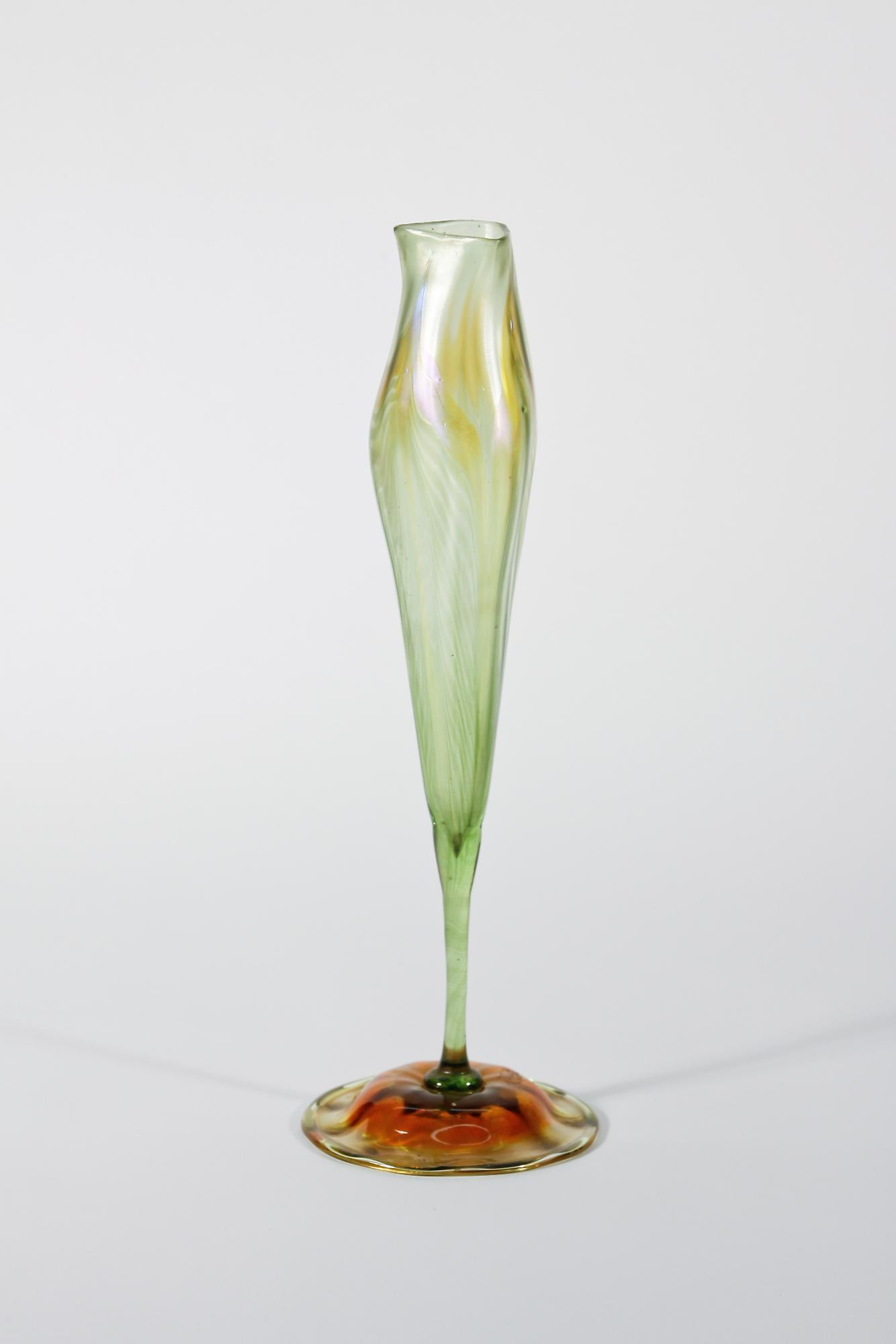 Tiffany Favrile Glass  Calyx Flower Form Vase 1