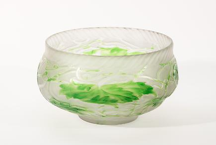 Tiffany Favrile Glass  Intaglio Carved Bowl 1