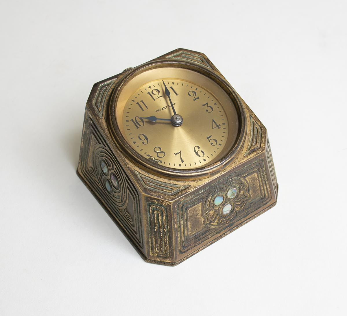 Tiffany Studios   Abalone  Desk Clock 1