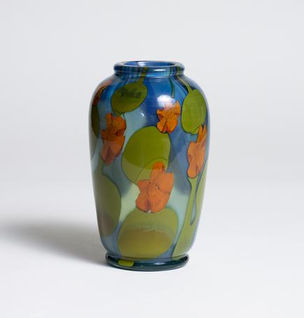Tiffany Favrile Glass  Paperweight Vase with Nasturtiums 1