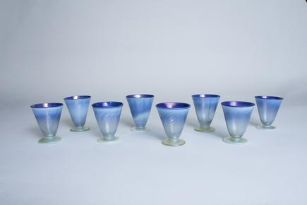 Tiffany Favrile Glass  Set of Pastel Sherry Glasses 1
