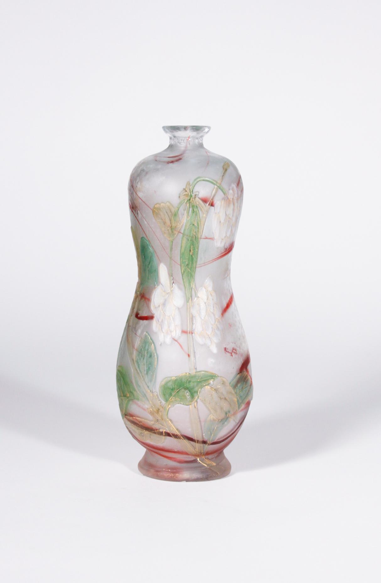 Burgun Schverer & Cie Decorated Vase with White Flowers 1