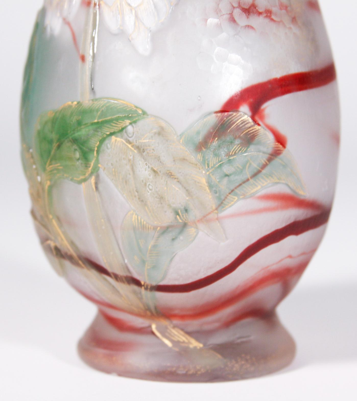 Burgun Schverer & Cie Decorated Vase with White Flowers 3