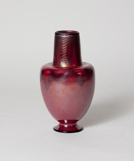 Tiffany Favrile Glass  Decorated Red Vase 2