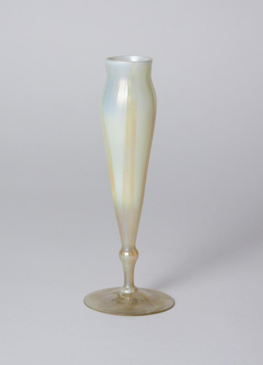 Tiffany Favrile Glass  Elongated Flower Form Vase 1