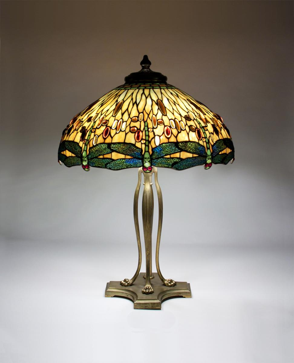 Tiffany Studios  Drophead Dragonfly Table Lamp 1