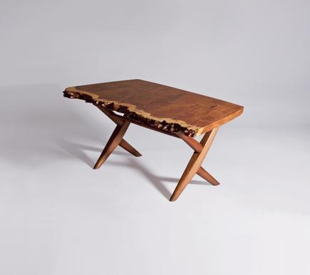 George Nakashima Burl English Oak Table with Conoid Base 1