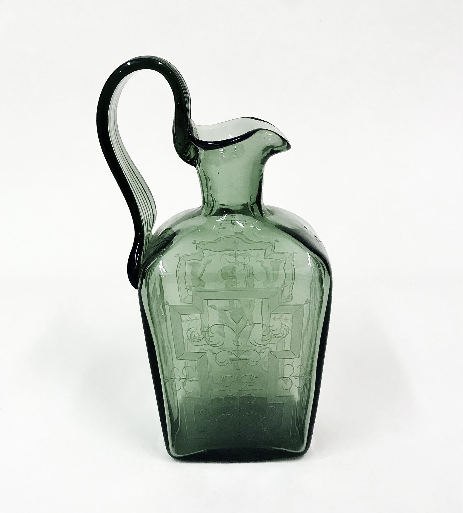 Orrefors Engraved Glass Pitcher 3