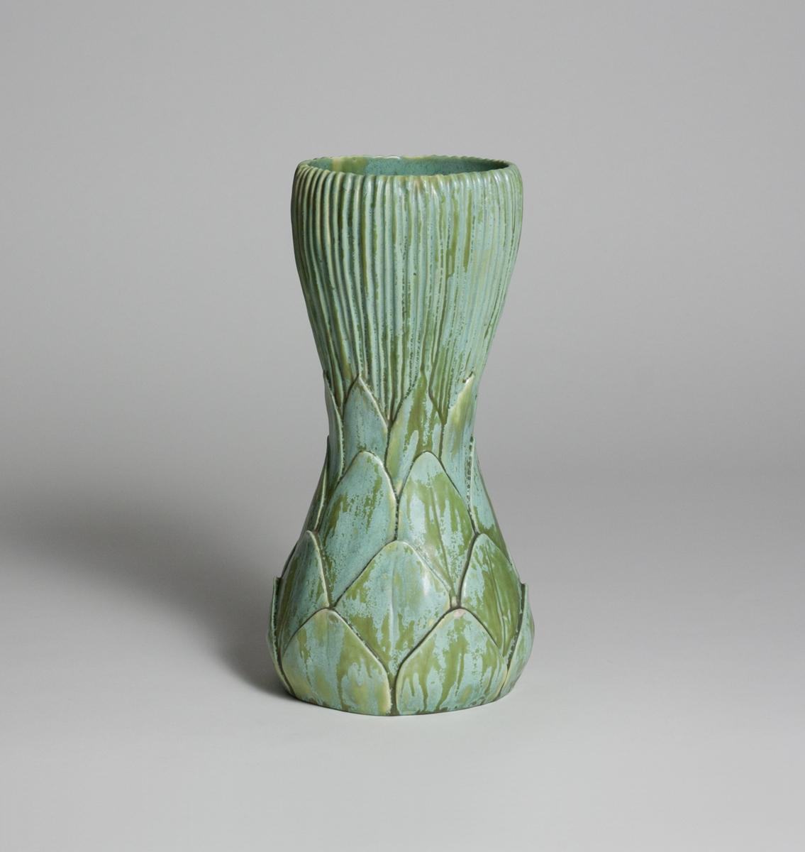 Tiffany Favrile Pottery  Tall Artichoke Vase 1