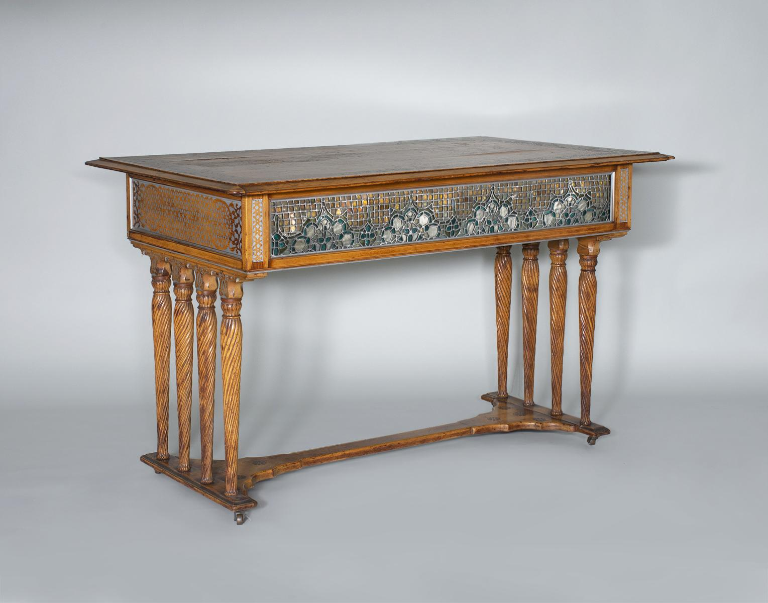 Louis C. Tiffany & Co.  Unique Center Table with Leaded Glass Panels 1
