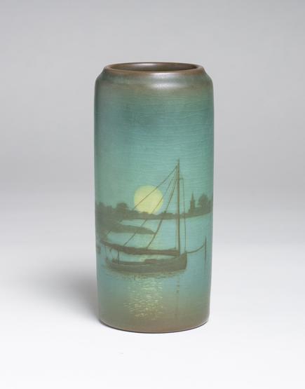 Sallie Coyne for Rookwood Pottery  Scenic Vellum Harbor Vase 1