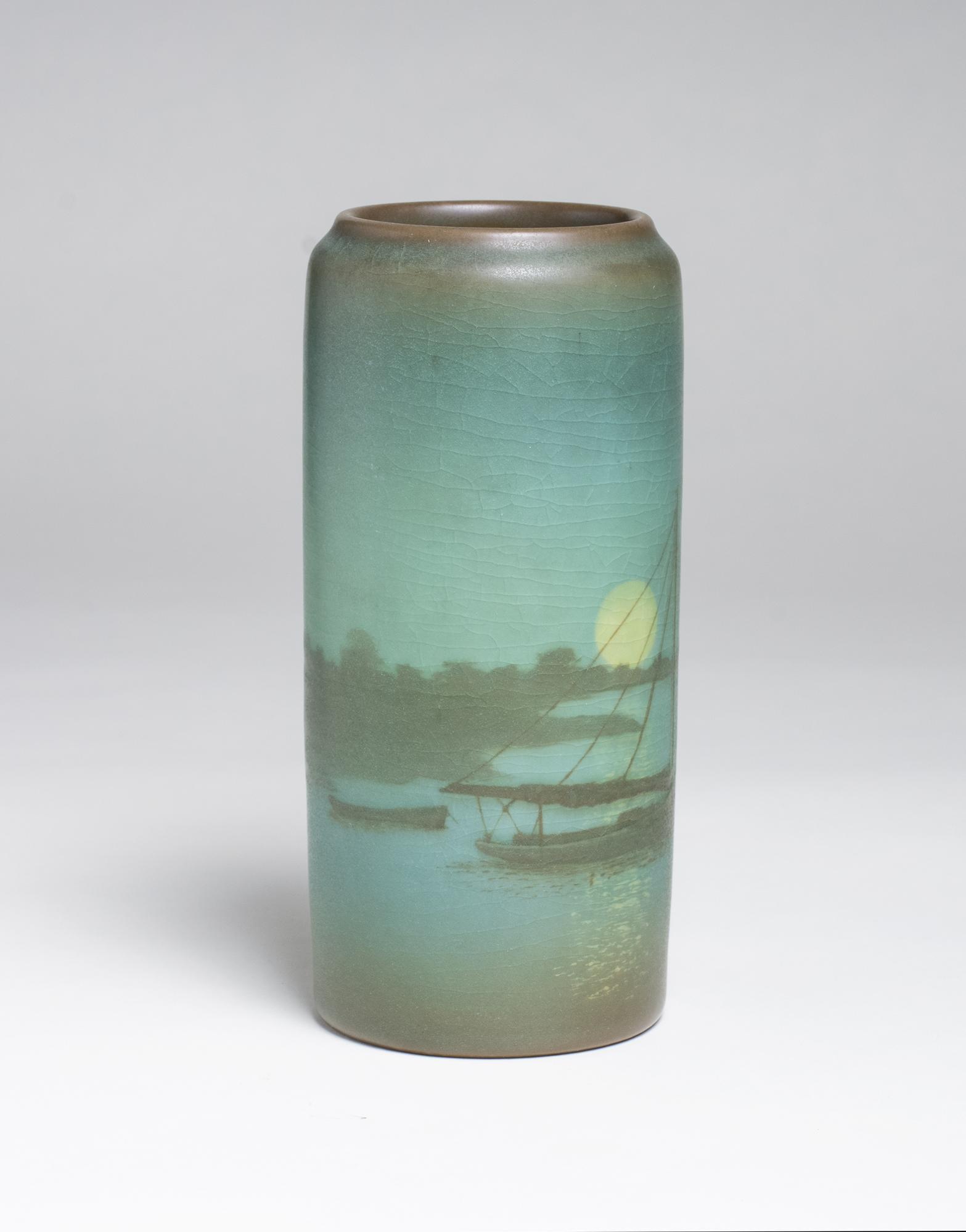 Sallie Coyne for Rookwood Pottery  Scenic Vellum Harbor Vase 2