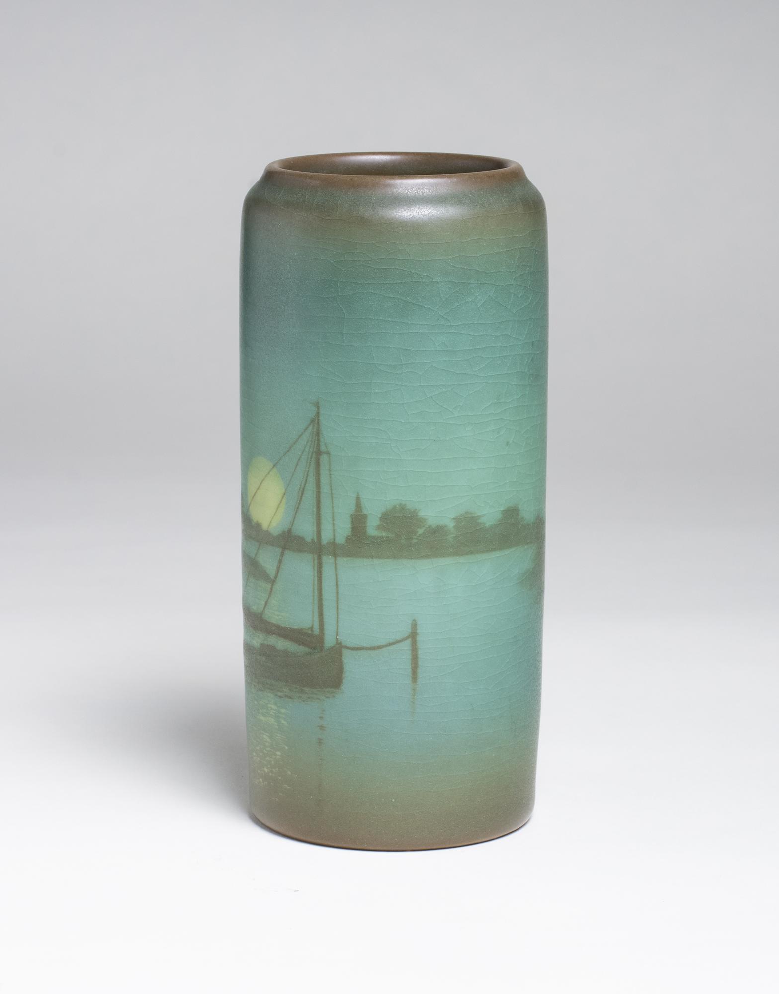 Sallie Coyne for Rookwood Pottery  Scenic Vellum Harbor Vase 3
