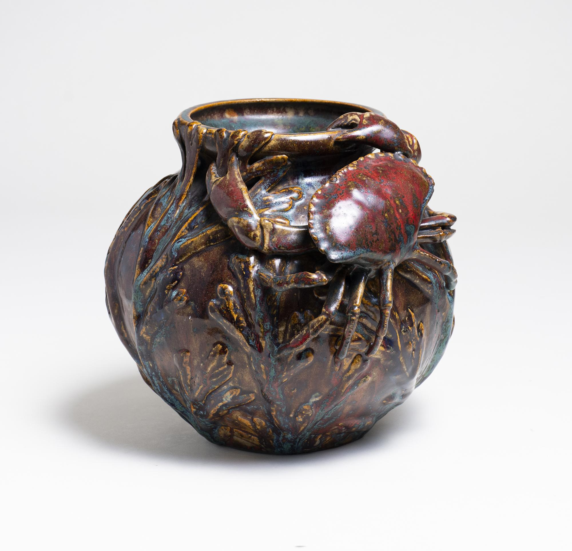 Pierre-Adrien Dalpayrat Vase with Applied Crab and Seaweed 1