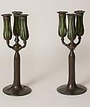 Tiffany Studios <br>Bronze and Favrile Glass Three-Light Candelabra