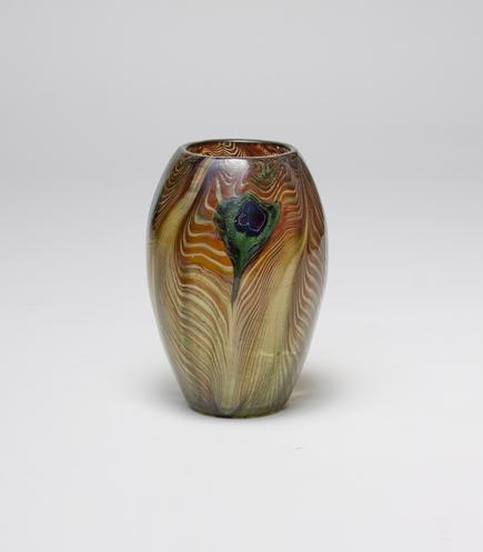 Tiffany Favrile Glass <br> Rare Early Peacock Vase 1