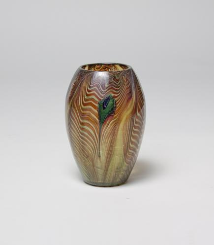 Tiffany Favrile Glass <br> Rare Early Peacock Vase 3
