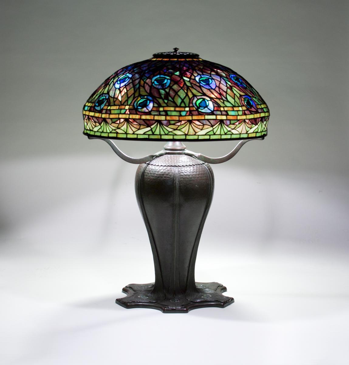 Tiffany Studios  Rare Peacock Table Lamp 1