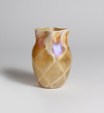 Tiffany Favrile Glass  Quilted Iridescent Vase 1