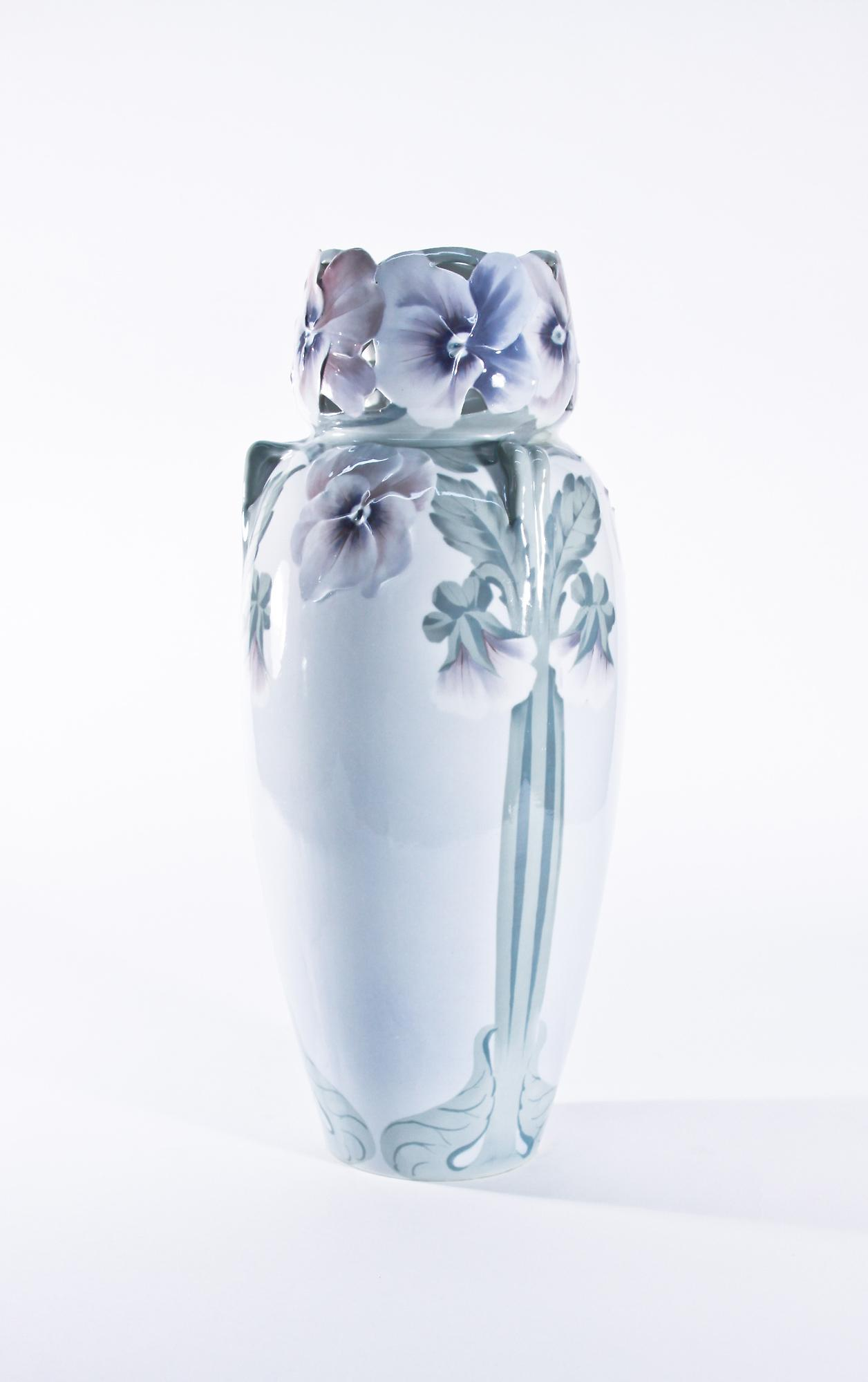 Rorstrand  Monumental Vase Modeled with Pansies 1