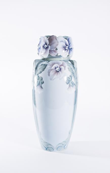 Rorstrand  Monumental Vase Modeled with Pansies 2