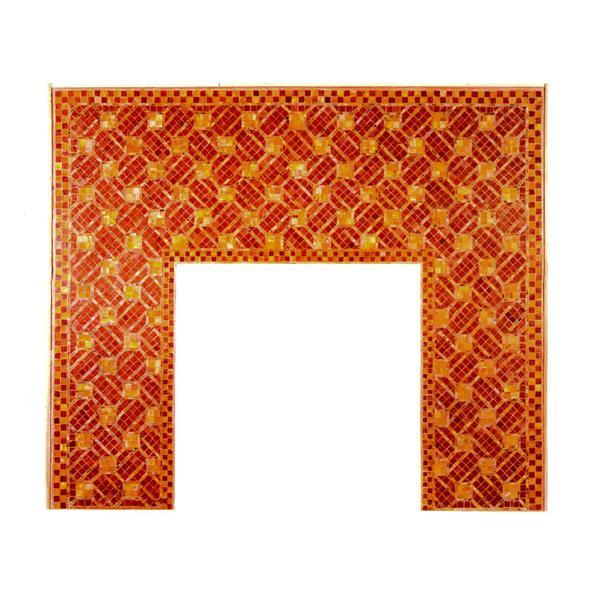 Tiffany Glass & Decorating Co.  Geometric Mosaic Fireplace Surround 1