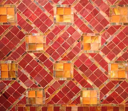 Tiffany Glass & Decorating Co.  Geometric Mosaic Fireplace Surround 2