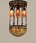 Tiffany Studios <br> Turtle Back and Favrile Glass Hanging Fixture