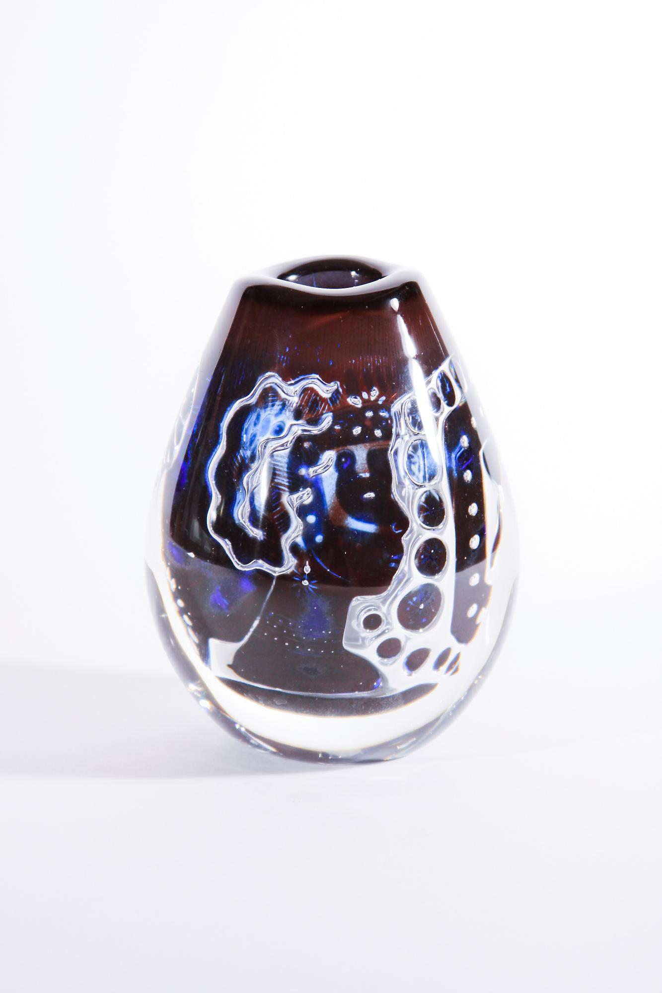 Orrefors Woman and Dove 'Ariel' Glass Vase 1