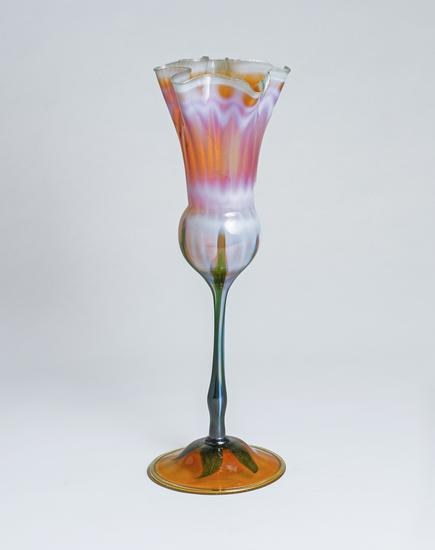 Tiffany Favrile Glass  Early Ruffled Flower Form Vase 1
