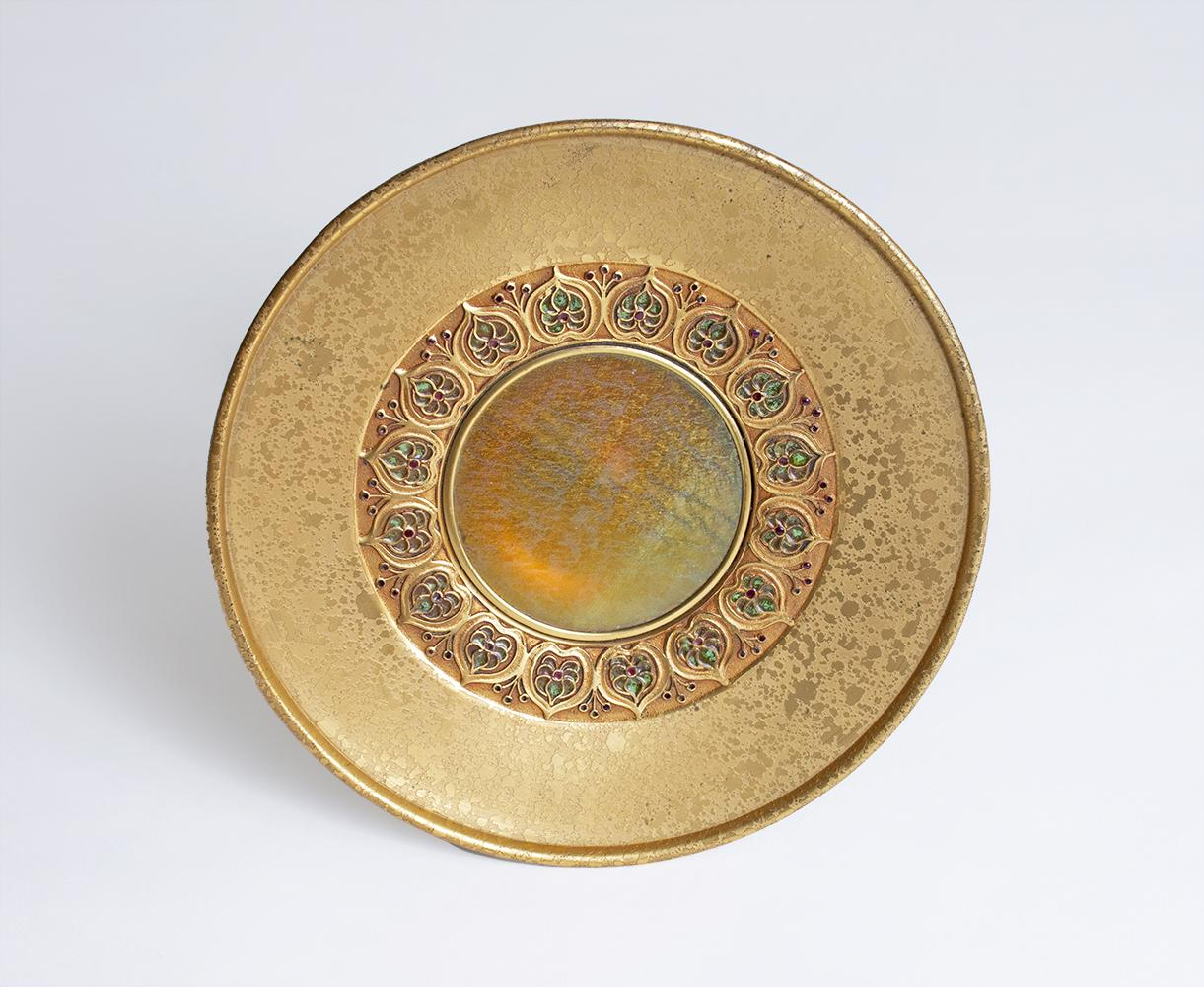 Louis C. Tiffany Furnaces Inc.  Tazza with Inset Favrile Glass 2