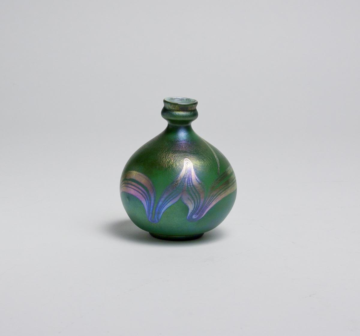 Tiffany Favrile Glass  Decorated Cabinet Vase 1