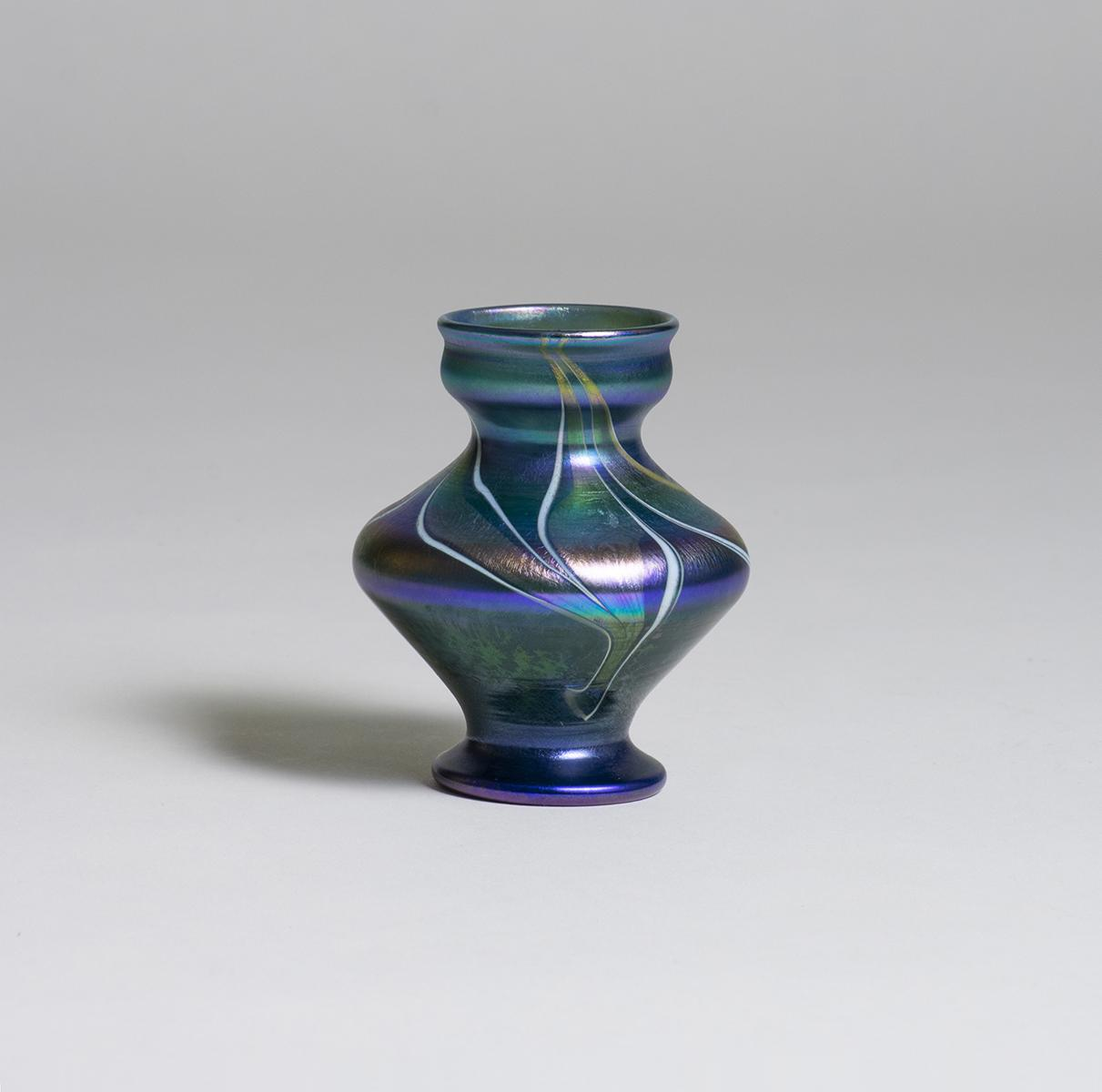 Tiffany Favrile Glass  Early Decorated Cabinet Vase 1