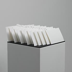 Ceal Floyer  <i>Order</i>, 2007 Index cards, rubber matting 130 x 27.5 x 29.5cm