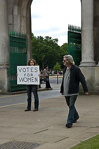 Sharon Hayes <i>In the Near Future</i>, 2005 - ongoing Performance, Hyde Park Corner, London, 15 June 2008  Courtesy the artist.